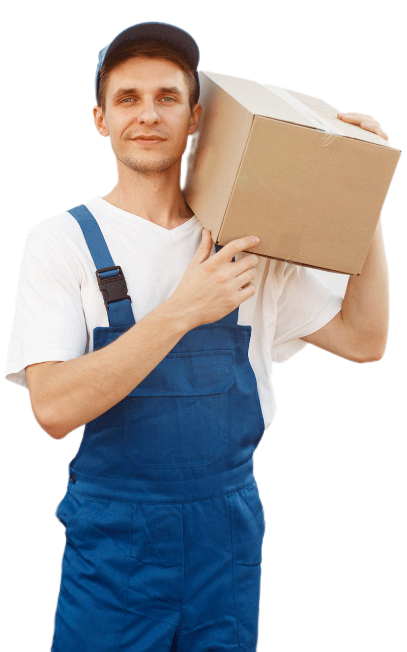 Divine Home Professional Services deliveryman-in-uniform-holds-carton-box-at-the-car-ZFTZSH2 HOME